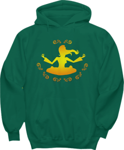 Yoga Yellow Design. Hoodie Girl in Lotus Pose
