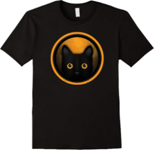 Black Cat Halloween Orange Light T shirt