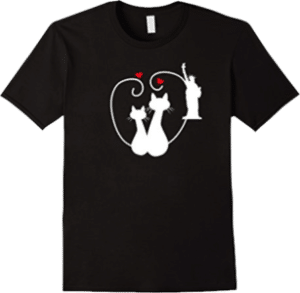 New York Cats in Love Statue of Liberty T-Shirt