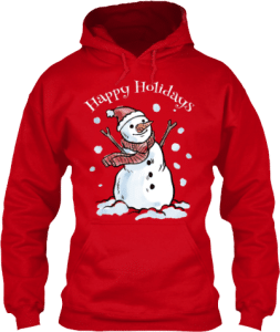 Happy Holidays Snowman Winter Snow with Scarf and Santa Hat