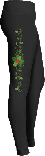 Holiday Leggings Holly Leaves