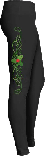 Christmas Holiday Holly Leaf Leggings