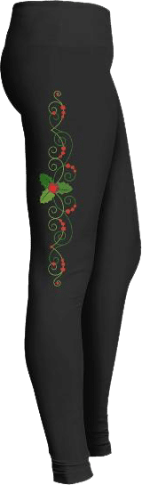 Christmas Berries Holly Leaf Leggings