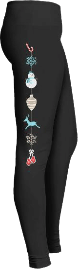Winter Holiday Leggings Snowman Candy Can Reindeer Mittens Snowflakes