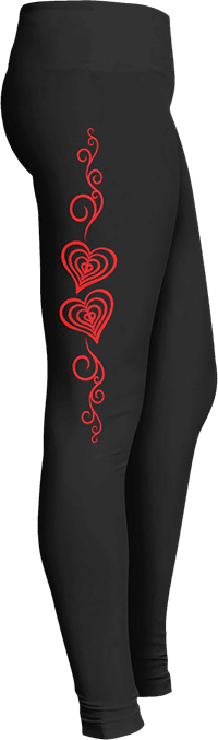Red Hearts Leggings Valentine's Day