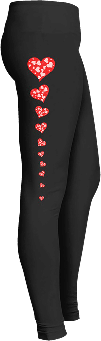 Hearts Valentines Day Leggings February