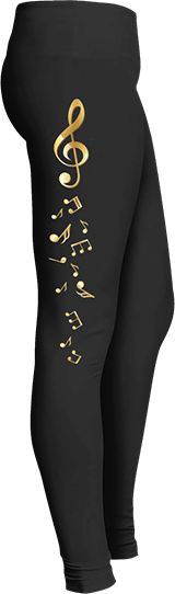 Gold Toned Musical Notes G Clef leggings