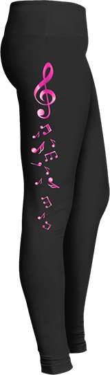 Pink G Cleff Musical Notes Leggings