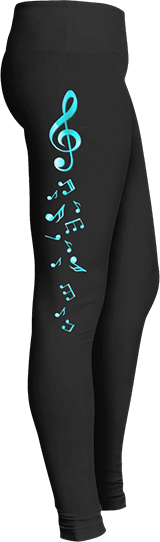 Music Blue G clef and notes leggings