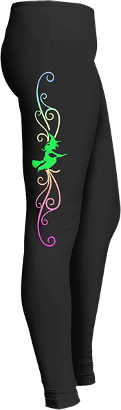Witch flying on broom October Halloween leggings