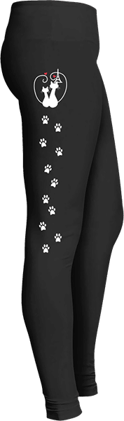 Cats in Love Eiffel Tower Paw Prints Leggings for cat lovers