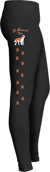 Saint Bernard Mom Leggings Paw Prints for Dog Lovers
