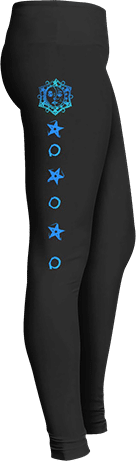 Blue astrology sun stars yoga leggings