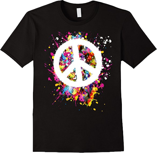 White Peace Sign on Artist Paint T shirt