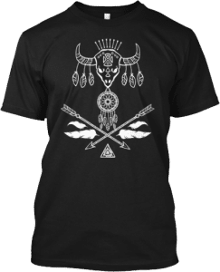 Bison Skull Arrows Feathers Dreamcatcher Bohemian Style T shirt