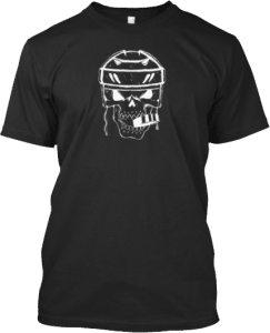 Hockey Player Skull with Puck in Mouth