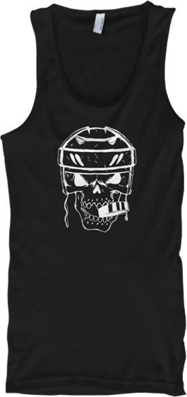 Hockey Player Skull with Puck in Mouth Sports Tank Top