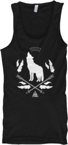 Bohemian Wolf Howling Arrows Feathers Tank Top