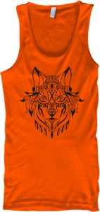 Indian Wolf Head No Sleeve Tank Top