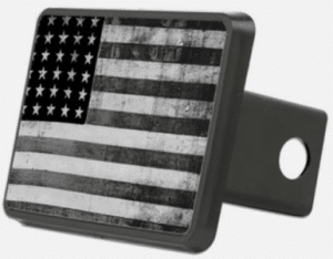 Trailer Hitch Cover American Flag Black and White Grunge