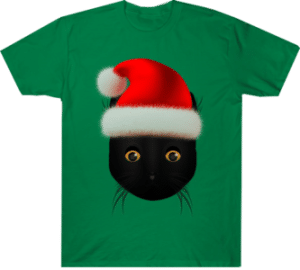 Black Cat Santa Hat Tee