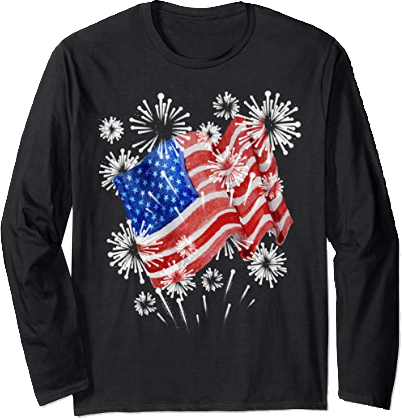 Long Sleeve Tee American Flag Fireworks 4th of July