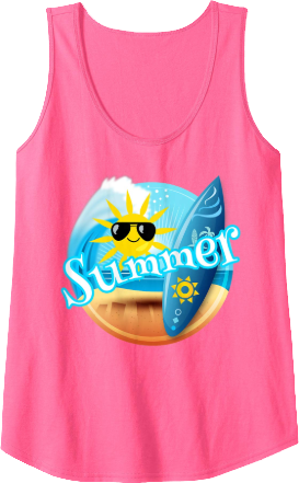 Summer Surfing Sun with Sun Glasses Tank Top