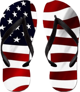 Wavy American Flag Flip Flops Fourth of July