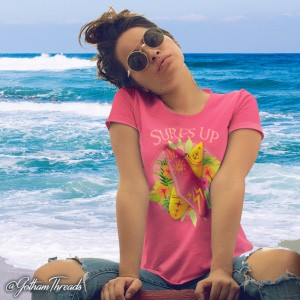 Do you love the beach? This surfer tee apparel is a great addition to your surfing bag. Beach clothes! Beachwear.