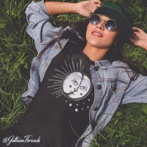 Hand drawn sun tee. Perfect with jeans. Comfortable clothes for every occasion.