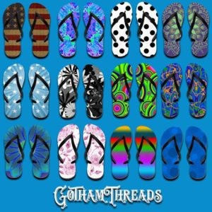 Summer flip flops footwear and clothes.