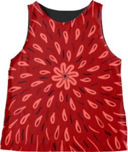 Red Flower Drops Sleeveless Top