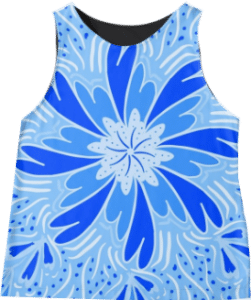 Blue Flower Sleeveless Top