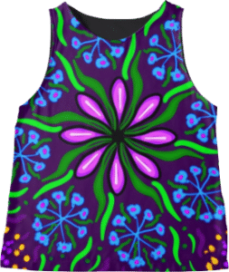 Pink Flower Sleeveless Top Blue Purple