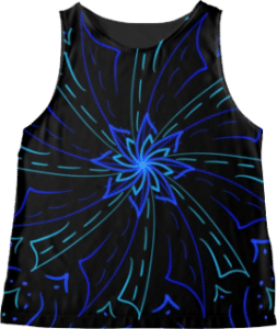 Blue Windmill Symbol Sleeveless Top
