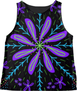Purple Flower Sleeveless Top