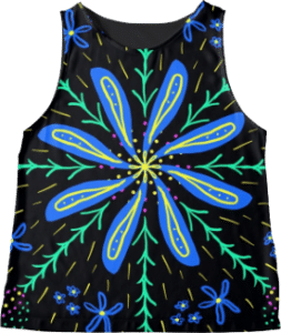 Blue Flowers Sleeveless Top