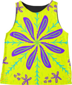 Yellow Flower Sleeveless Top