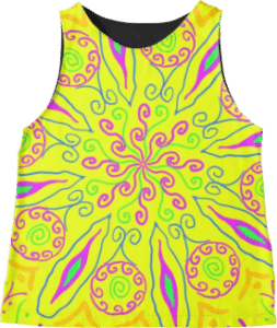 Yellow Hipster Flower Sleeveless Top