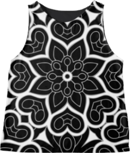 Classic Black and White Flower Mandala Sleeveless Top