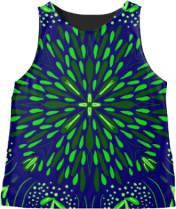 Blue Green Star Flower by roseglasses Blue Green Star Flower Sleeveless Top
