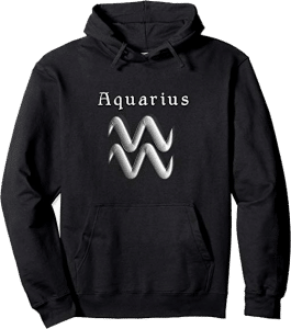 Modern Aquarius Zodiac Sign Pullover Pouch Hoodie in Black