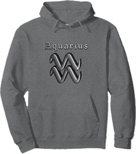 Modern Aquarius Zodiac Sign Pullover Pouch Hoodie in Gray