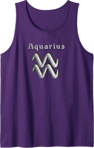 Modern Aquarius Sign Zodiac Tank Top Purple