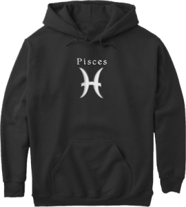Pisces Zodiac Pullover Pouch Pocket Hoodie Black
