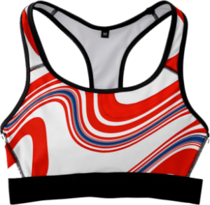 Sports Bra Fitness Top Red White Blue American Flag Marble