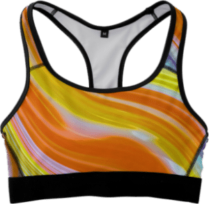 Sports Bra Fitness Top in Orange, Yellow, White Marble