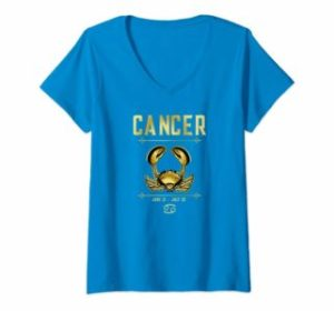 V-neck Top for Women Zodiac Cancer Crab