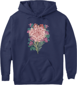 Beautiful large pink flower on pouch pocket, long sleeve navy blue hoodie