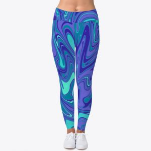 Blue Water Marble Gym Workout Leggings Activewear